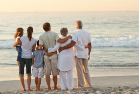 Family on a Beach and Link to Memorial Services